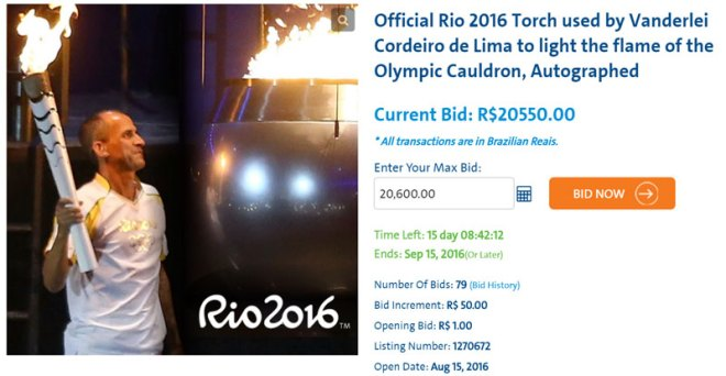 Cauldron-lighting torch available from Rio 2016 Auction (screen capture)