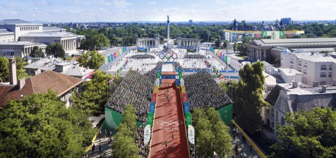 Budapest 2024 Heroes' Square Stadium to host Cycling and Athletics events (Budapest 2024 Depiction)