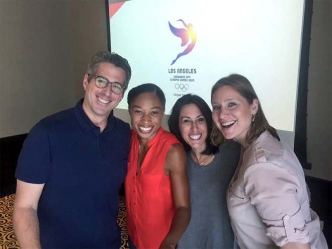 LA 2024 delegates (L to R) Casey Wasserman, Allyson Felix, Janet Evans and Angela Ruggiero prepare for presnetation to ANOC General Assembly in Doha (Team USA Photo