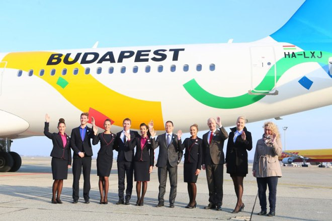 Budapest 2024 and Wizz Air unveil fleet with Olympic bid branding.