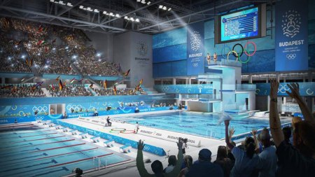 Proposed Budapest 2024 Olympic pool (Budapest 2024 depiction)