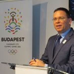Budapest 2024 Chair Balazs Furjes speaks at opening of Danube Arena (GamesBids Photo)