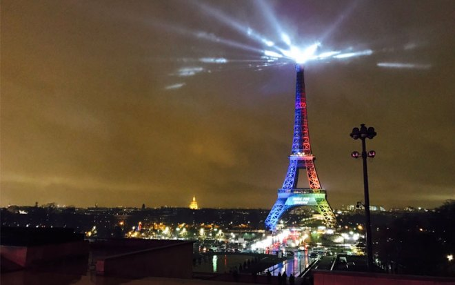"The Eiffell Tower is lit up like the Paris 2024 Olympic bid logo with the slogan ""Made To Share"" on Feb. 3, 0217 (Paris 2024 Photo)"