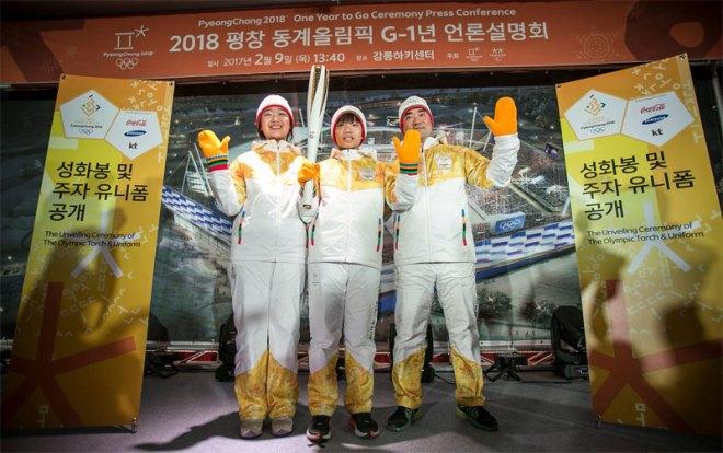 PyeongChang 2018 torchbearer uniforms modeled at unveiling February 9, 2017 (IOC Photo)