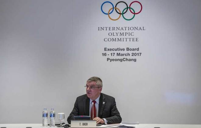 IOC President Thomas Bach speaks to reporters after Executive Board meeting in PyeongChang March 17, 2017 (IOC) Photo)