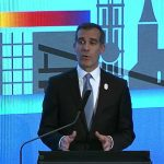 LA Mayor Eric Garcetti Presents for LA 2024 Olympic bid at SportAccord Convention in Aarhus, Denmark
