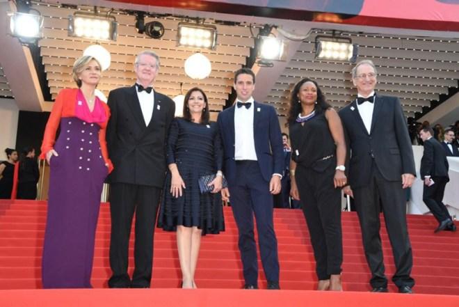 Paris Mayor Anne Hidalgo and Bid Co-Chair Tony Estanguet (center) among Paris 2024 delegation at Cannes Film Festival (GB Photo)