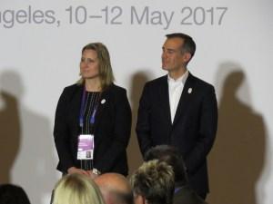 Los Angeles Mayor Eric Garcetti and LA 2024's Angela Ruggiero at opening of EC (GamesBids Photo)