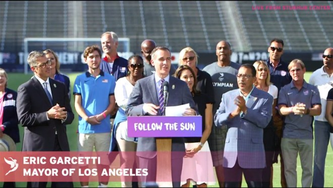 LA Mayor Eric Garcetti announces deal that brings the 2028 Olympic and Paralympic Games to his city (Facebook Live)