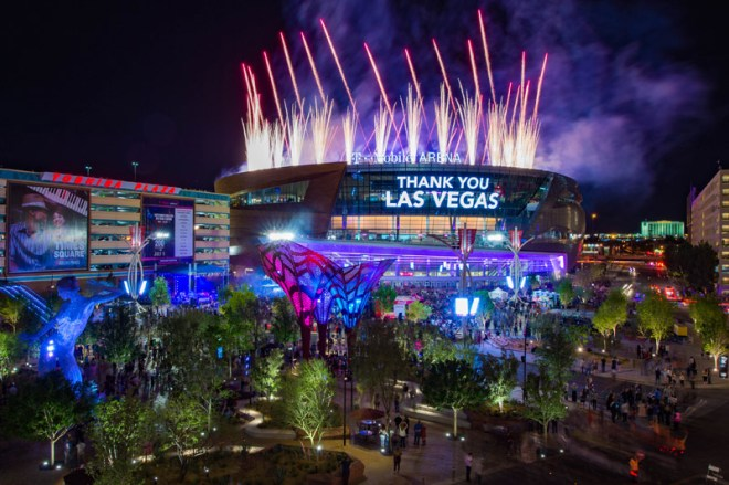 T-Mobile Arena in Las Vegas, home of the Golden Knights NHL team, is being proposed for Olympic hockey
