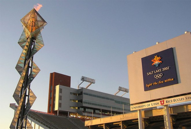Rice-Eccles Stadium and 2002 Olympic Cauldron in Salt Lake City