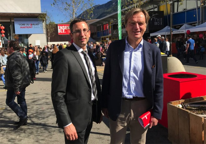 Sion 2026 Chair Jean-Philippe Rochat (right) and Valais Sports Councilor Frédéric Favre (Sion 2026 Photo)