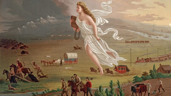 John Gast's 1872 painting 'American Progress' is thought to express the idea of Amerca's Manifest Destiny (Library of Congress)