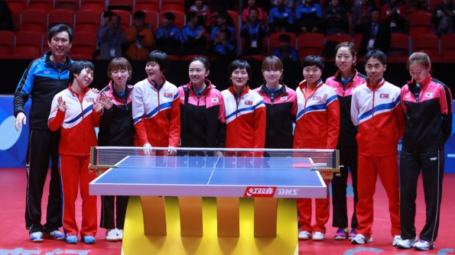Unified Korean Table Tennis Team at World Championships at Halmstad, Sweden (ITTF Photo)