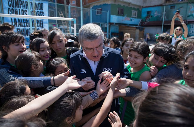 IOC President Thomas Bach visits Buenos Aires 2018 Youth Olympic Village (IOC Photo)
