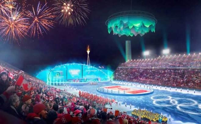 Calgary 2026 rendering of upgraded McMahon Stadium with Olympic overlay