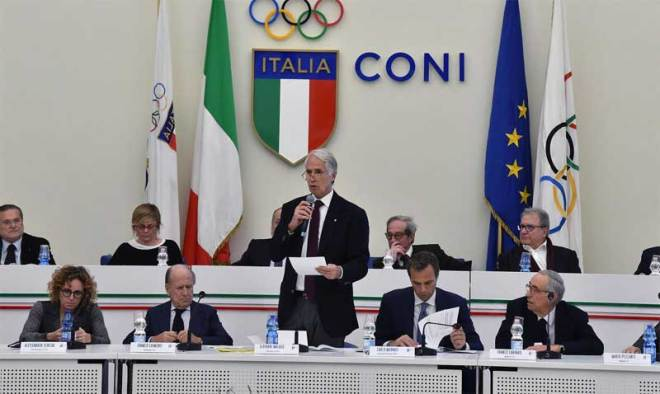 CONI President Giovanni Malagò at 265th National Council in Rome December 18, 2018 (CONI Photo)