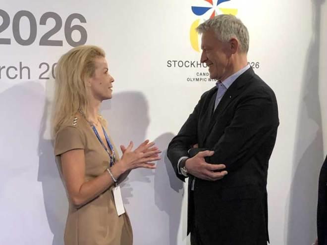 Stockholm Mayor Anna König Jerlmyr (left) meets IOC Evaluation Commission Chair Octavian Morariu at bid presentation March 15, 2019 (GamesBids Photo)