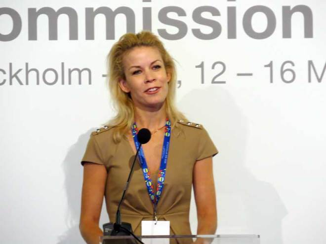 Stockholm Mayor Anna König Jerlmyr addresses IOC Evaluation Commission March 15, 2019 (GamesBids)