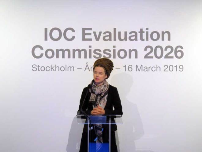 Sweden's Sport Minister Amanda Lind speaks to IOC Evaluation Commission March 15, 2019 (GamesBids Photo)