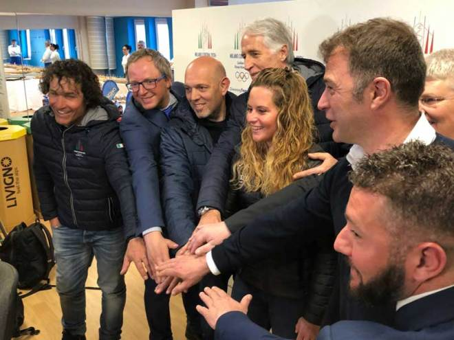 Milan-Cortina 2026 Olympic Bid Team led by CONI President Giovanni Malago (centre) in Livigno, Italy (GamesBids Photo)
