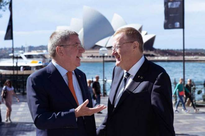 IOC President Thomas Bach chats with Australian Olympic Committee President John Coates as Australia mulls 2032 Olympic bid (IOC Photo)