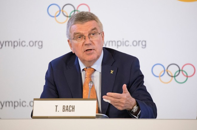 IOC President Thomas Bach during a Press Conference at the Lausanne Palace Hotelon June 20, 2019 (IOC Photo)