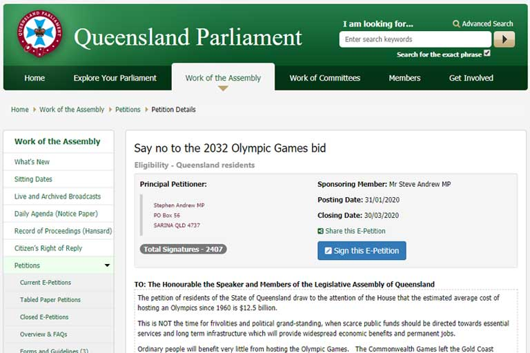 Official Online Petition Emerges Aimed At Cancelling Queensland 2032 Olympic Bid