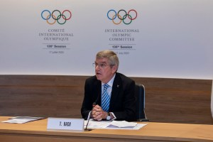 President Thomas Bach hosts the first ever Remote IOC Session at Olympic House June 17, 2020 (Photo: Greg Martin/IOC)