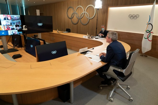IOC President Thomas Bach chairs Executive Board Meetings at Olympic House in Lausanne, December 2020 (Photo: Greg Martin/IOC)