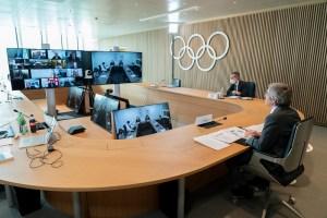 IOC President Thomas Bach chairs IOC Executive Board virtually in Lausanne for the February 24, 2021 meeting (Photo: Greg Martin/IOC)