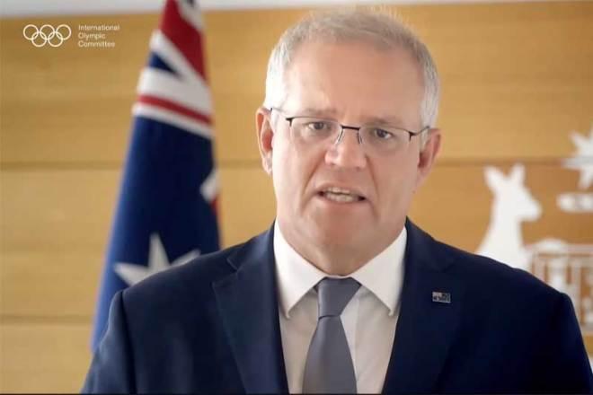 Australian Prime Minister Scott Morrison speaks to 137th IOC Session on March 11, 2021