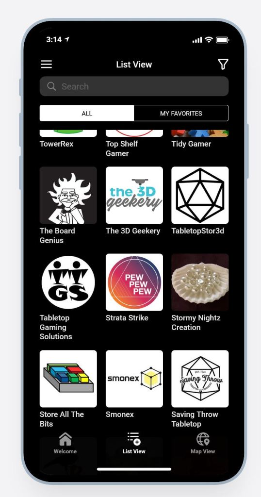 Board Game Enhancer Directory App listing page