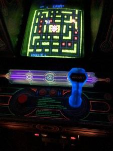 image of TRON arcade cabinet control stick and buttons