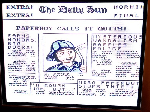 screen of paperboy on the nintendo