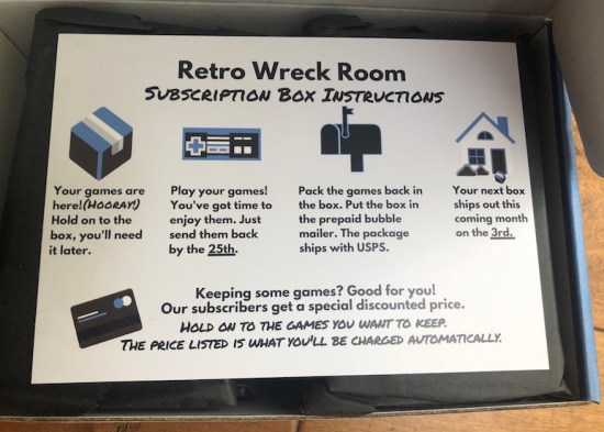 image of instructions included in the retro wreck room subscription box review