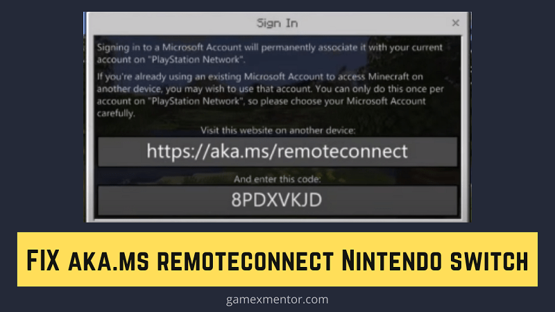 https aka ms remoteconnect Nintendo switch