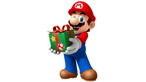 Mario mit Geschenk