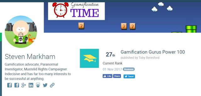 Gamification Gurus Power 100 - Gamification Time 27th!