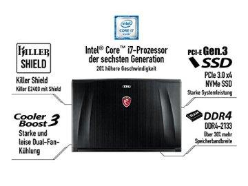 MSI GE72-6QD161 43,9 cm (17,3 Zoll) Notebook (Intel Core i7 -6700HQ (Skylake), 16GB RAM, 1TB HDD, NVIDIA Geforce GTX 960M, Win 10 Home) schwarz - 8