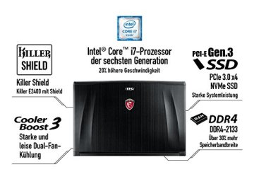MSI GE72-6QD161 43,9 cm (17,3 Zoll) Notebook (Intel Core i7 -6700HQ (Skylake), 16GB RAM, 1TB HDD, NVIDIA Geforce GTX 960M, Win 10 Home) schwarz - 8