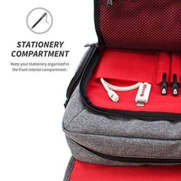 Laptoptasche, Snugg - Graue Notebooktasche - Umhängetasche für Laptops mit einer Bildschirmdiagonale von bis zu 17 Zoll - 4