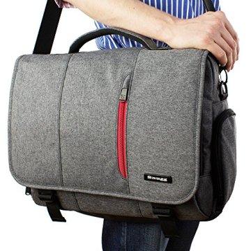 Laptoptasche, Snugg - Graue Notebooktasche - Umhängetasche für Laptops mit einer Bildschirmdiagonale von bis zu 17 Zoll - 7