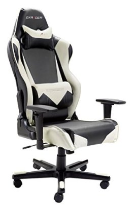 Robas Lund 62545NW4 DX Racer Gaming-/Büro-/Schreibtischstuhl / Chefsessel mit Armlehnen, 69 x 127-134 x 53 cm, Drehkreuz Alu schwarz, Bezug Kunstleder, Polyurethan, schwarz / weiß -