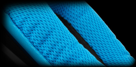 G430 ear cup close up of sports performance cloth covering close up