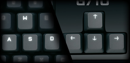 Close up of overlayed keybouard sections displaying dual zone backlighting