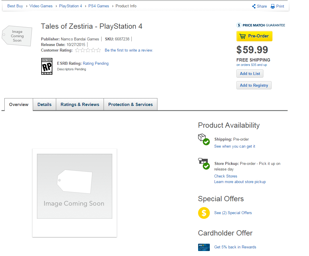 Tales Of Zestiria Listed For Ps4 At Bestbuy