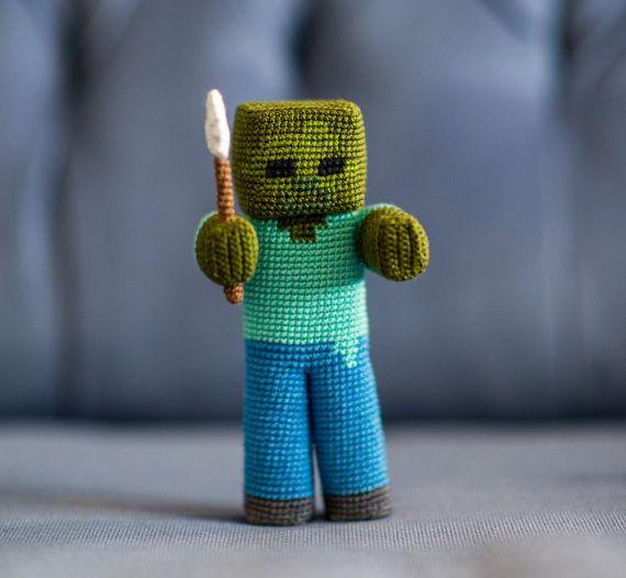 Minecraft: Schafe, Steve, Alex und Zombie gehäkelt