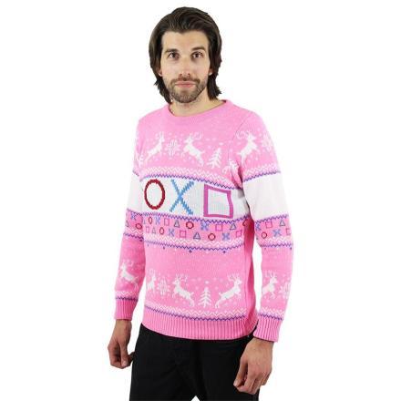 Der PlayStation-Pullover mit Symbolen. In Pink! (Foto: GeekStore)