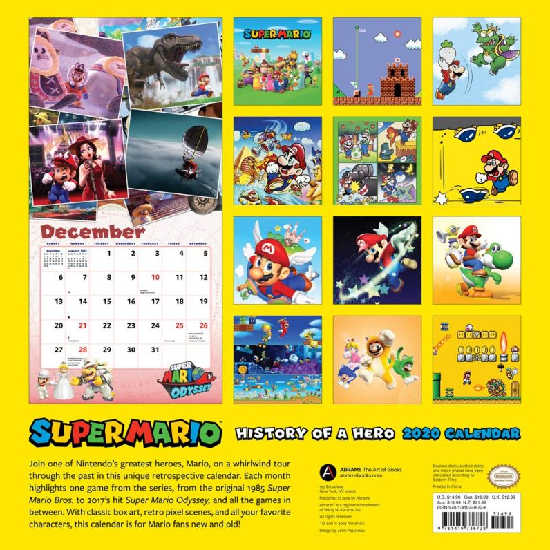 Mario Retro-Kalender 2020 Rückseite. (Foto: Nintendo)